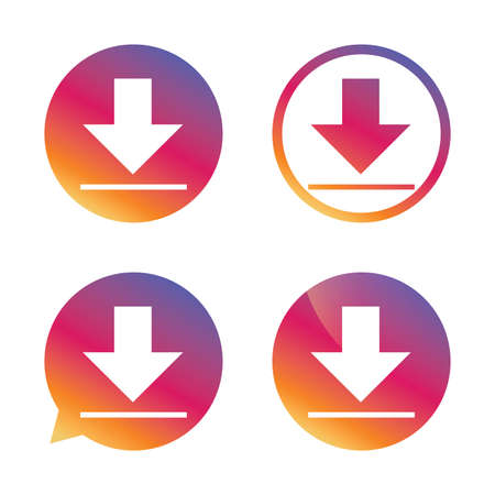 Download icon. Upload button. Load symbol. Gradient buttons with flat icon. Speech bubble sign. Vector