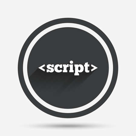 javascript: Script sign icon. Javascript code symbol. Circle flat button with shadow and border. Vector