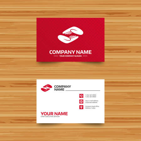 endowment: Business card template. Helping hands sign icon. Charity or endowment symbol. Human palm. Phone, globe and pointer icons. Visiting card design. Vector