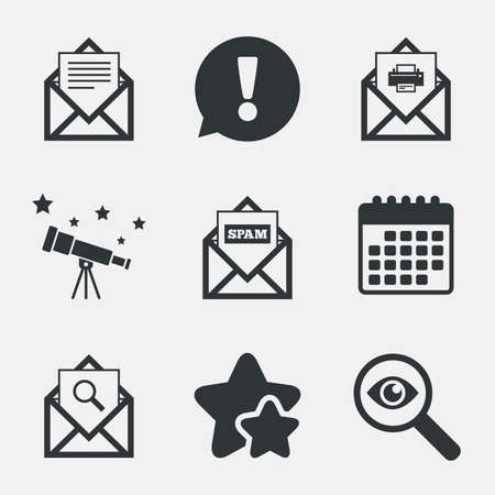 webmail: Mail envelope icons. Print message document symbol. Post office letter signs. Spam mails and search message icons. Attention, investigate and stars icons. Telescope and calendar signs. Vector Illustration