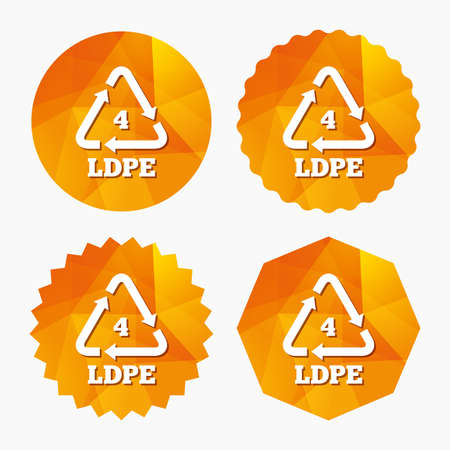 monomer: Ld-pe 4 icon. Low-density polyethylene sign. Recycling symbol. Triangular low poly buttons with flat icon. Vector