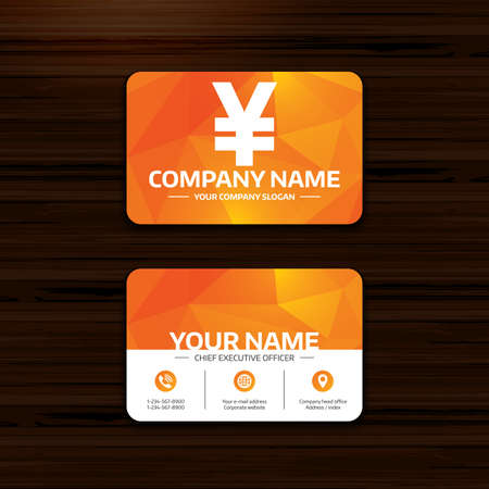 yen sign: Business or visiting card template. Yen sign icon. JPY currency symbol. Money label. Phone, globe and pointer icons. Vector