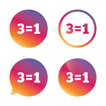 equals: Three for one sign icon. Take three pay for one sale button. 3 equals 1. Gradient buttons with flat icon. Speech bubble sign. Vector