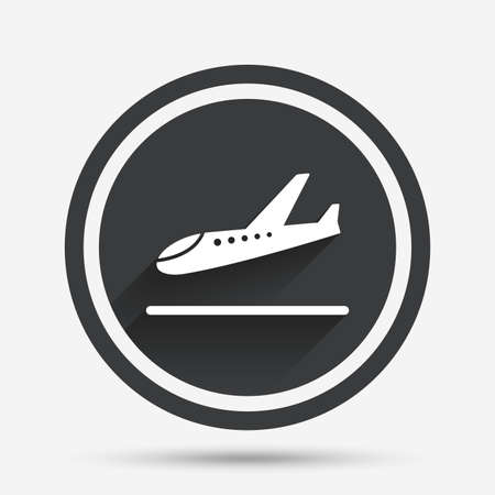 plane landing: Plane landing icon. Airplane transport symbol. Circle flat button with shadow and border. Vector Illustration