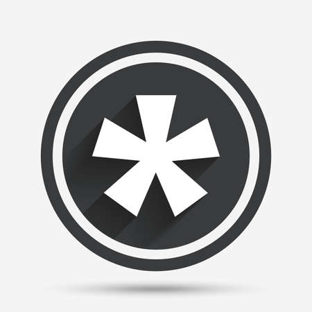 more information: Asterisk footnote sign icon. Star note symbol for more information. Circle flat button with shadow and border. Vector