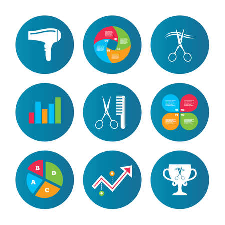 cut hair: Business pie chart. Growth curve. Presentation buttons. Hairdresser icons. Scissors cut hair symbol. Comb hair with hairdryer symbol. Barbershop winner award cup. Data analysis. Vector
