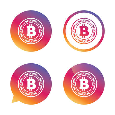 cryptography: Bitcoin sign icon. Cryptography currency symbol. P2P. Gradient buttons with flat icon. Speech bubble sign. Vector