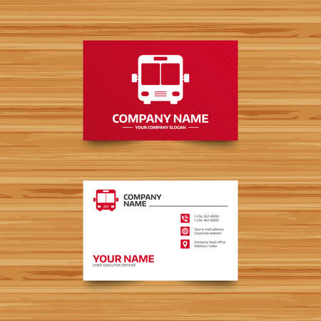 Business card template bus sign icon public transport symbol business card template bus sign icon public transport symbol phone globe and friedricerecipe Image collections