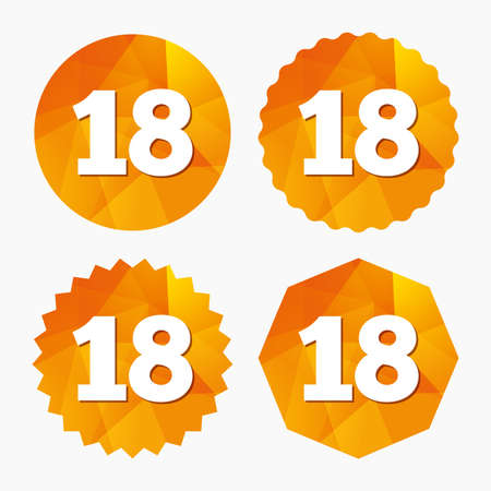 18 years old: 18 years old sign. Adults content icon. Triangular low poly buttons with flat icon. Vector Illustration