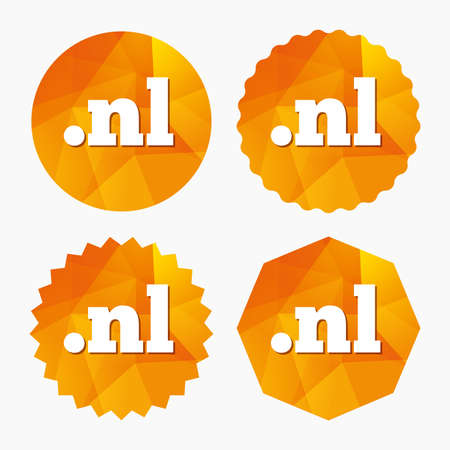 nl: Domain NL sign icon. Top-level internet domain symbol. Triangular low poly buttons with flat icon. Vector