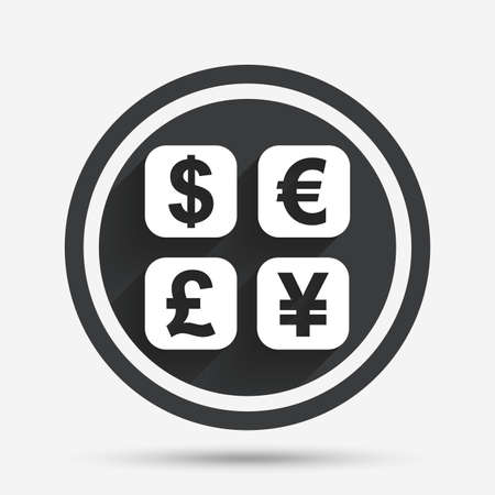 converter: Currency exchange sign icon. Currency converter symbol. Money label. Circle flat button with shadow and border. Vector