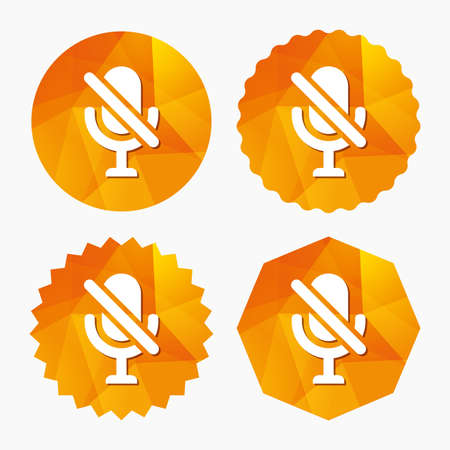 No Microphone sign icon. Speaker symbol. Triangular low poly buttons with flat icon. Vector