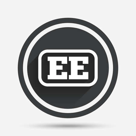 ee: Estonian language sign icon. EE translation symbol with frame. Circle flat button with shadow and border. Vector Illustration