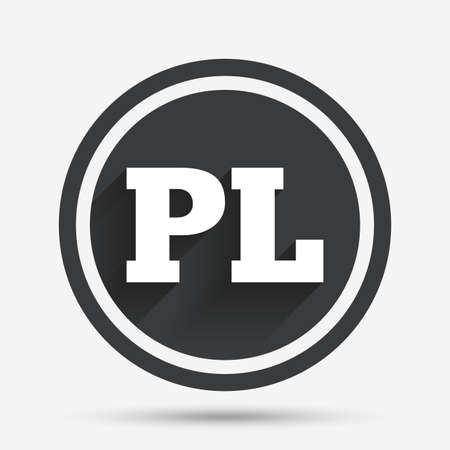 pl: Polish language sign icon. PL translation symbol. Circle flat button with shadow and border. Vector