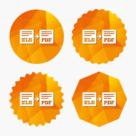 Export XLS to PDF icon. File document symbol. Triangular low poly buttons with flat icon. Vector