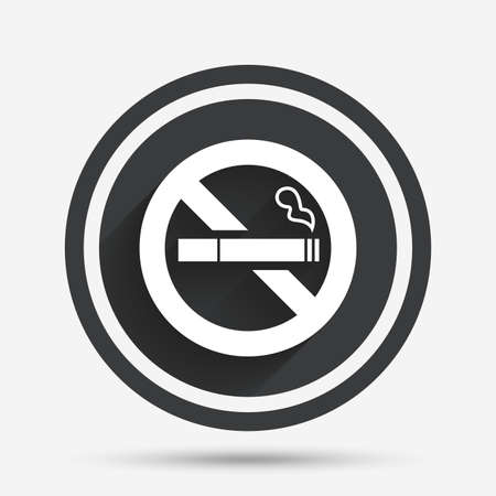 quit: No Smoking sign icon. Quit smoking. Cigarette symbol. Circle flat button with shadow and border. Vector