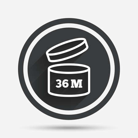 expiration date: After opening use 36 months sign icon. Expiration date. Circle flat button with shadow and border. Vector Illustration