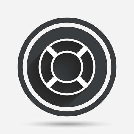 salvation: Lifebuoy sign icon. Life salvation symbol. Circle flat button with shadow and border. Vector