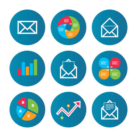 webmail: Business pie chart. Growth curve. Presentation buttons. Mail envelope icons. Message document symbols. Post office letter signs. Data analysis. Vector