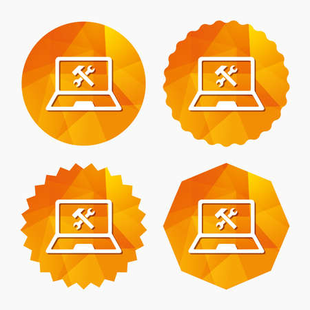 ultrabook: Laptop repair sign icon. Notebook fix service symbol. Triangular low poly buttons with flat icon. Vector