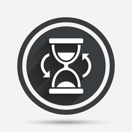 sand timer: Hourglass sign icon. Sand timer symbol. Circle flat button with shadow and border. Vector Illustration