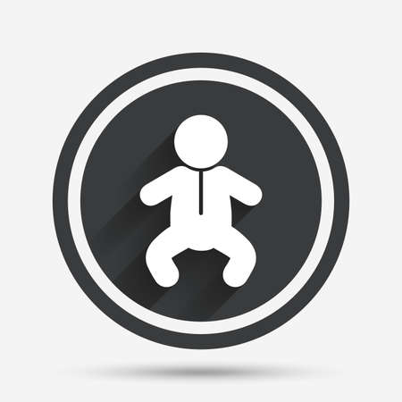 Baby infant sign icon. Toddler boy in pajamas or crawlers body symbol. Child WC toilet. Circle flat button with shadow and border. Vector Illustration