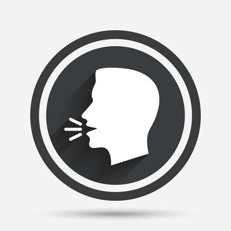 loud noise: Talk or speak icon. Loud noise symbol. Human talking sign. Circle flat button with shadow and border. Vector