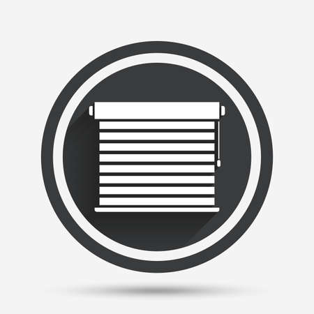 jalousie: Louvers sign icon. Window blinds or jalousie symbol. Circle flat button with shadow and border. Vector Illustration