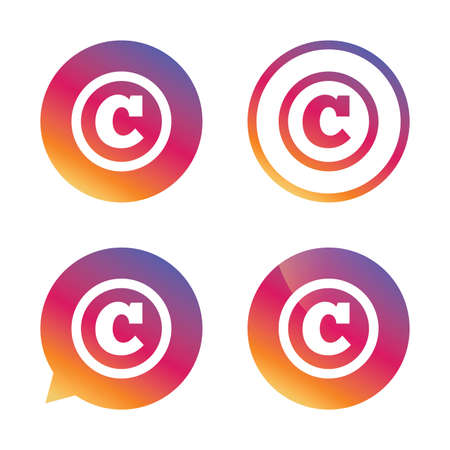 Copyright sign icon. Copyright button. Gradient buttons with flat icon. Speech bubble sign. Vector Illustration