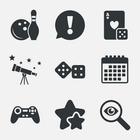 Bowling and Casino icons. Video game joystick and playing card with dice symbols. Entertainment signs. Attention, investigate and stars icons. Telescope and calendar signs. Vector