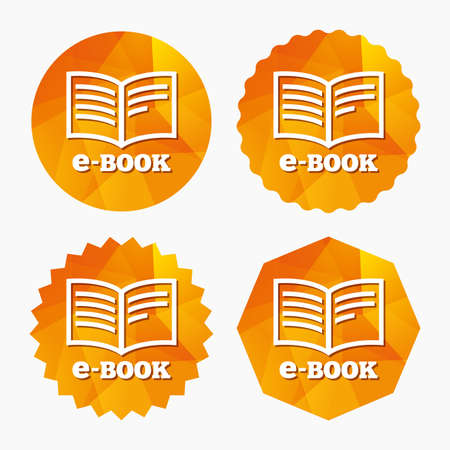 reader: E-Book sign icon. Electronic book symbol. Ebook reader device. Triangular low poly buttons with flat icon. Vector