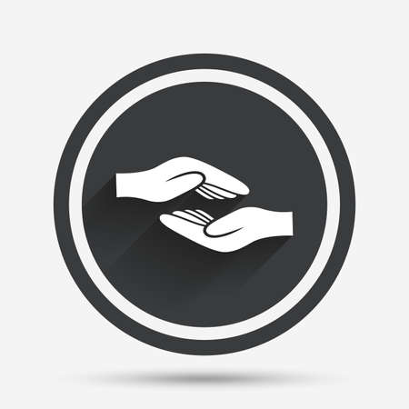endowment: Helping hands sign icon. Charity or endowment symbol. Human palm. Circle flat button with shadow and border. Vector