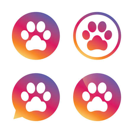 Dog paw sign icon. Pets symbol. Gradient buttons with flat icon. Speech bubble sign. Vector