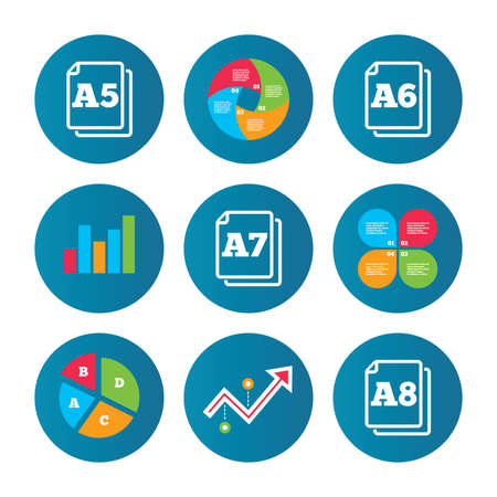 a7: Business pie chart. Growth curve. Presentation buttons. Paper size standard icons. Document symbols. A5, A6, A7 and A8 page signs. Data analysis. Vector Illustration