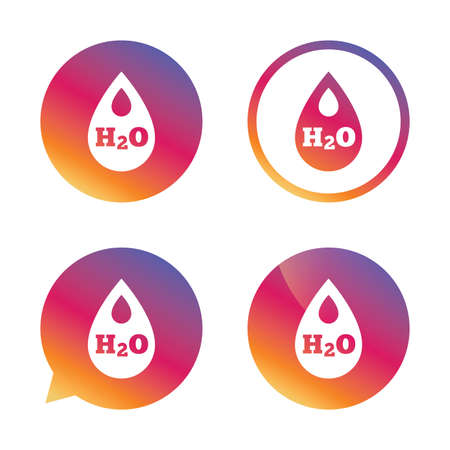 h2o: H2O Water drop sign icon. Tear symbol. Gradient buttons with flat icon. Speech bubble sign. Vector Illustration