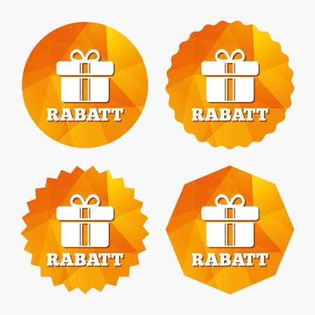 Rabatt - Rabatte in deutschen Zeichen Symbol. Geschenkbox mit Bändern Symbol. Dreieckige niedrige Polyknöpfe mit flacher Ikone. Vektor Standard-Bild - 64718367