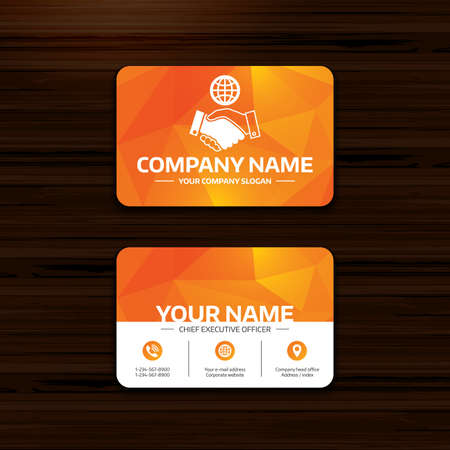 voluntary: Business or visiting card template. World handshake sign icon. Amicable agreement. Successful business with globe symbol. Phone, globe and pointer icons. Vector Illustration