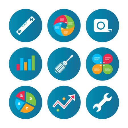bubble level: Business pie chart. Growth curve. Presentation buttons. Screwdriver and wrench key tool icons. Bubble level and tape measure roulette sign symbols. Data analysis. Vector