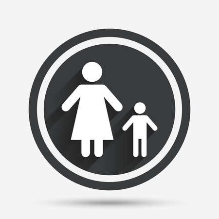 family with one child: One-parent family with one child sign icon. Mother with son symbol. Circle flat button with shadow and border. Vector