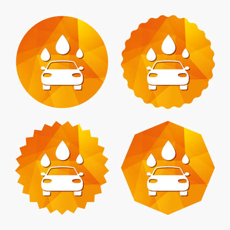 automated teller: Car wash icon. Automated teller carwash symbol. Water drops signs. Triangular low poly buttons with flat icon. Vector