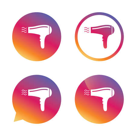 Hairdryer sign icon. Hair drying symbol. Blowing hot air. Turn on. Gradient buttons with flat icon. Speech bubble sign. Vector