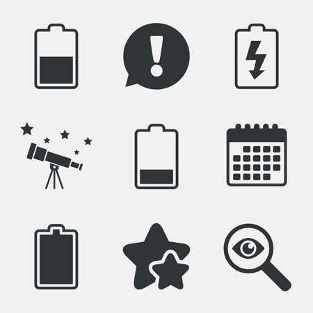 electrochemical: Battery charging icons. Electricity signs symbols. Charge levels: full, half and low. Attention, investigate and stars icons. Telescope and calendar signs. Vector