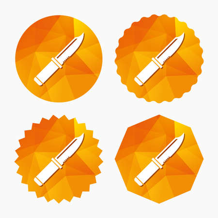 Knife sign icon. Edged weapons symbol. Stab or cut. Hunting equipment. Triangular low poly buttons with flat icon. Vector