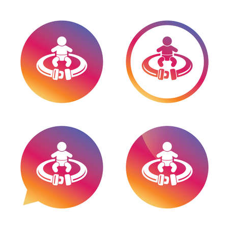fasten: Fasten seat belt sign icon. Child safety in accident. Gradient buttons with flat icon. Speech bubble sign. Vector