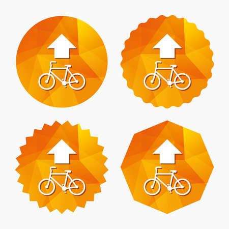 trail sign: Bicycle path trail sign icon. Cycle path. Up straight arrow symbol. Triangular low poly buttons with flat icon. Vector