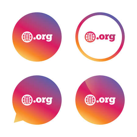 org: Domain ORG sign icon. Top-level internet domain symbol with globe. Gradient buttons with flat icon. Speech bubble sign. Vector Illustration