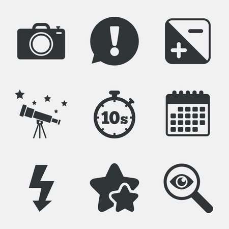 seconds: Photo camera icon. Flash light and exposure symbols. Stopwatch timer 10 seconds sign. Attention, investigate and stars icons. Telescope and calendar signs. Vector Illustration