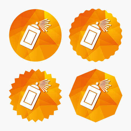 paint can: Graffiti spray can sign icon. Aerosol paint symbol. Triangular low poly buttons with flat icon. Vector Illustration
