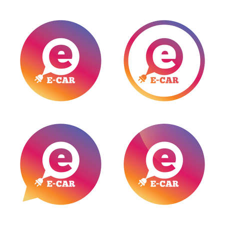 electric vehicle: Electric car sign icon. Electric vehicle transport symbol. Speech bubble. Gradient buttons with flat icon. Speech bubble sign. Vector