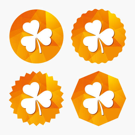 clover buttons: Clover with three leaves sign icon. Trifoliate clover. Saint Patrick trefoil symbol. Triangular low poly buttons with flat icon. Vector